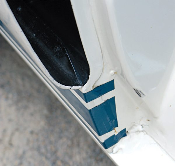 The use of a decal-only side stripe greatly simplified the door jamb areas, and that simplification translated directly into a lower cost per car to produce. Gone was the painstaking job of masking a paint stripe into the door jamb and carefully taping of the door bottom for the application of paint. In its stead was a simple tape stripe wrapped into the door jamb, where it was invisible with the door closed. Tape side stripes were here to stay, remaining in use on the Shelby Mustangs until the end of the line in 1969.