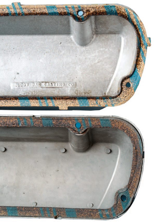 The die-cast process allowed the incorporation of a recess within which to seat the valve cover gasket. This allowed for easier gasket installation than on the Buddy Bars, where the gasket sat on a flat surface without a recess (and often squeezed out when the valve cover bolts were tightened). Original Buddy Bars had the company name cast on the inside surface.