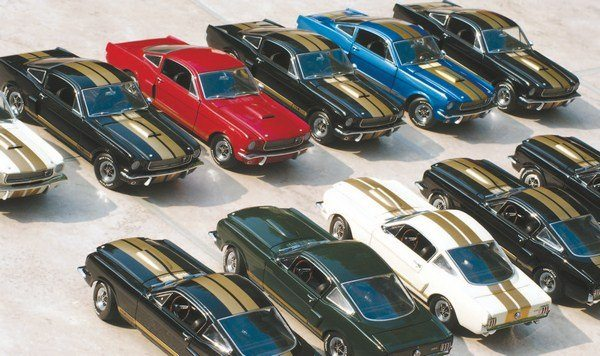 Of the 50 Hertz locations offering the GT350H for rent, only three (Miami, Los Angeles, and San Francisco) received one of every colored car. A current-day gathering of the total Hertz rainbow has proven elusive so, reverting to the tactics employed by men with names like Lucas and Spielberg, a handful of large-scale die-cast models were used to illustrate the concept. This is what the Hertz lots in one of those cities might have looked like when viewed from the window of one of those fancy, new (at the time) jet airliners.