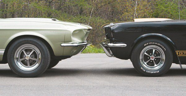 The 1967 Shelby nose, aside from being longer than that of the 1965 and 1966 cars (which used standard Mustang sheet metal), had much more rake to it. The effect was a sleek, fast-appearing Grand Touring car that made the largest-yet styling departure from the Mustang on which it was based. The standard Mustang front bumper was used, mounted on extended brackets. There were two basic types of nosepieces used in 1967 production: onepiece and two-piece. Both were produced with either a mat or chopped fiberglass process.