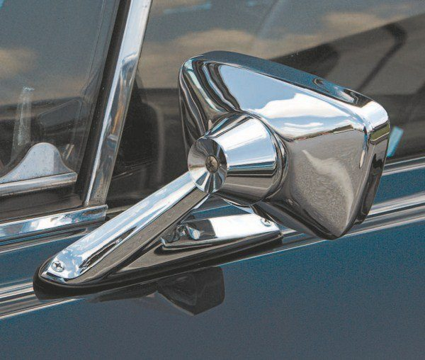 Like in 1966, a driver's side mirror was standard fare on the 1967 Shelby. However, unlike 1966, an RPO (Regular Production Option) unit was used, in this case, the remote mirror that accompanied the deluxe interior. Mounted farther aft than the year before, viewing was easier because it could be viewed through the door window, rather than the small vent window. The reflective surface was substantially larger than the year before, as well.