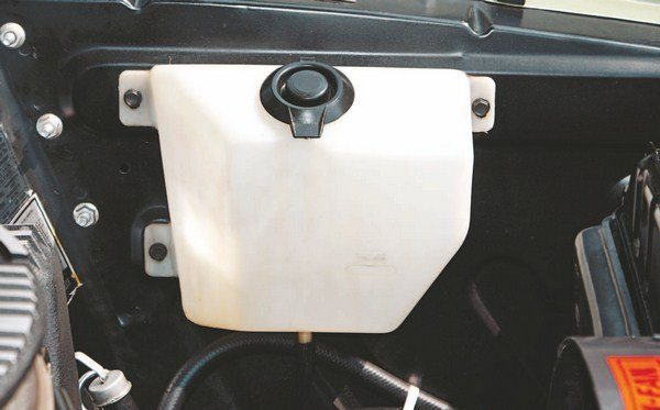 The molded plastic windshield washer reservoir had become standard to all 1968 Mustangs, therefore, all 1968 Shelbys were so equipped (as opposed to in 1967, where some early cars had bags and later ones had tanks).