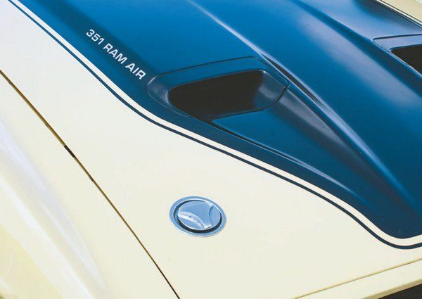Styling carryovers to later-year Mustangs from the 1969 Shelby include NACA-type air intakes and Dzus twist-lock hood fasteners. A home for them was also found on the 1971 Boss 351.