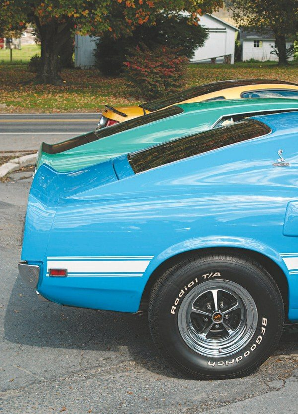 After a thousand or so 1969 Shelbys were sold, a recall was issued for the cars' pressed-together wheels. Until new riveted Shelby wheels were available, cars were sold with Boss 302-like 15-inch chrome Magnum 500 wheels. When the riveted wheels became available, owners had the option to swap the temporary Magnums for Shelby wheels, though not all owners did.