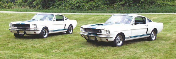Things like deleted grille trim and bumperettes, wide R-Model wheels, side exhausts, and roll bars usually are the tell-tales of Shelby clones. Despite such appearances, however, further investigation reveals that these are actually two legitimate 1966 GT350s with some owner-added customizations.