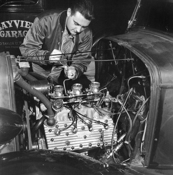 Vic Edelbrock was one of the first to see the potential of the speed equipment business. He experimented with his own parts even before World War II. Here's a Bay Area hot rodder with Edelbrock heads and intake with three deuces. (Photo Courtesy GhostracksUSA.com)