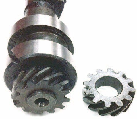 The steel gears that drive the distributor and the oil pump can be salvaged. They are also made by several manufacturers and are available from H&H, Offenhauser, Speedway, and other suppliers.
