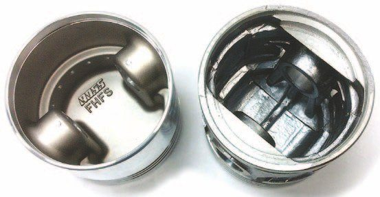The balance machining is done just inside the skirt on both of these pistons (Ross, left; Egge, right). Both are three-ring pistons for less drag; Egge also offers a four-ring option.