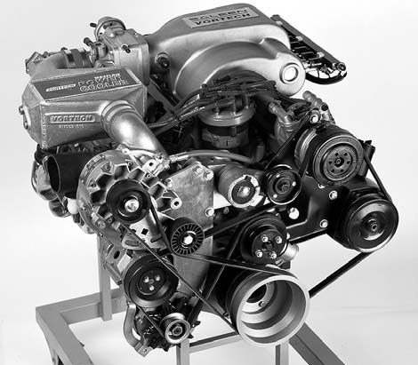 Vortech supercharger systems are 100 percent complete, allowing effortless installation for the experienced do-it-yourselfer. Shown here is the Renegade V-7YSi-Trim street/ strip supercharger package, which can produce up to 1,000 hp. This kit is for off-road use only.