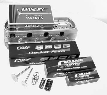 The full complement of valvetrain components for this setup includes Crane Cams 1.6:1 ratio roller rocker arms, a set of Crane Cams triple valvesprings, a set of ARP 3⁄8- inch rocker arm studs, and a set of Manley Performance 2.02-inch intake and 1.60-inch stainless-steel exhaust valves.
