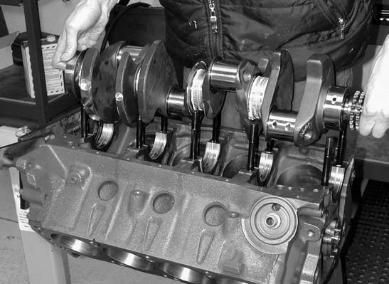 14. With bearing clearances properly checked, it's time to permanently install the Probe Industries 408-ci stroker crank.