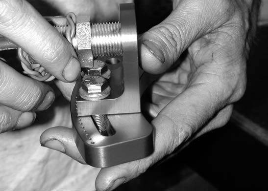 36. Here we see our installer setting up the MSD Flying Magnet Crank trigger pickup and mounting bracket.