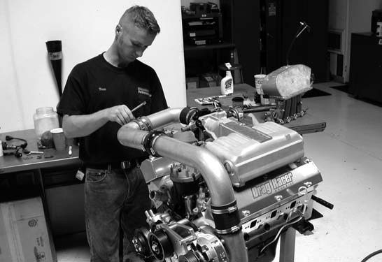 50. Pre-dyno setup included building the air intake system using various lengths of 31⁄2-inch, 90-degree aluminum tubing, joined together by neoprene hoses and hose clamps.