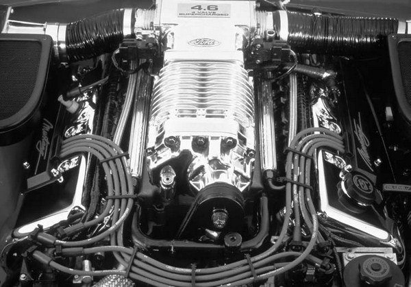 A number of Ford vehicles have come with Eaton superchargers direct from the factory. This one appeared on the Mach III concept car, which foreshadowed the supercharged '03 and '04 4.6-liter Cobras.