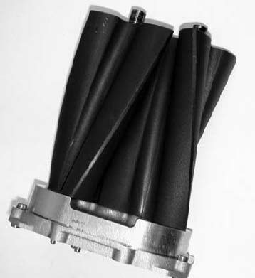 Shown is the Eaton-manufactured threelobe, 60-degree, helix rotor pack developed by Eaton and Magnuson. It is the heart and soul of the Eaton/Magnuson supercharger product lines. Eaton exclusively manufactures these packs at its Athens, Georgia, facility.