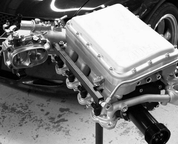 Allen Engine Development's race-only system for the 4.6L SOHC Mustang and Thunderbird is based around the Lysholm 2300 AX twin-screw supercharger. This kit features Allen Engine Development's Rev I cast-aluminum intake manifold, an air-to-water intercooler system, Bosch electric water pump, twin 58-mm throttle bodies, billet-aluminum fuel rails, and alternator and idler pulley brackets. This kit is reputed to deliver up to 800 hp and 20 psi.