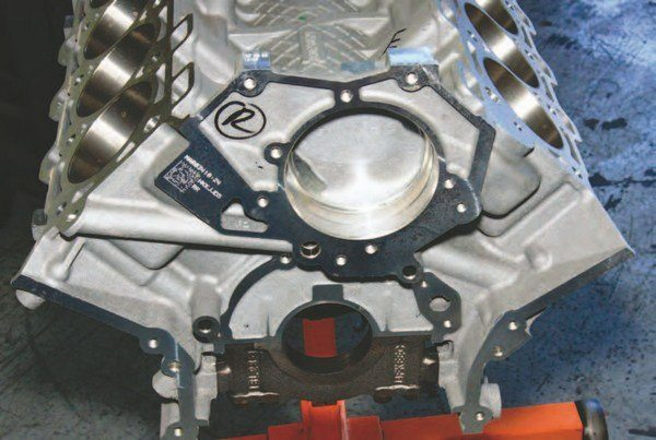 Head on, it's challenging to differentiate the Coyote from a 4.6L block. However, closer inspection demonstrates revised cooling and oil passages. You no longer have to sweat out the valley cooling tube as you did with the 4.6L because cooling passages are now in the block.