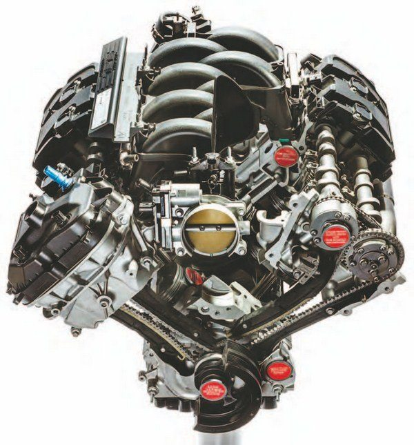 Here's the 5.2L Voodoo head on. Although, at a glance, the Voodoo resembles the Coyote, there are many differences, including a more advanced induction system, GT350-specific cylinder heads, a Voodoo specific block, and more. (Photo Courtesy Ford Performance Parts)