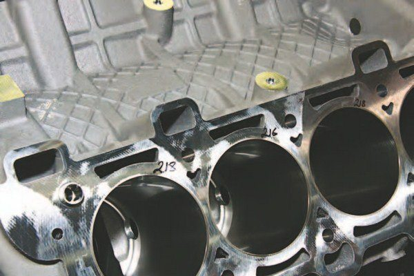 """Here's another look at the """"bay-to-bay"""" ventilation chimneys, which improve crankcase breathing and oil drainback at high RPM. This ensures oil reaches all the right places at high RPM, when an engine is most vulnerable."""