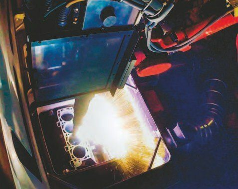 Here's the PTWA cylinder-liner process being applied to the 5.2L block during manufacture. Ford has brought this technology in-house, which reduces production time and expense, to result in a lighter-weight block. (Photo Courtesy Ford Performance Parts)