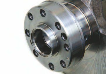 All Coyote cranks have this eighthole flange, which is on a par with the 4.6L truck crank. This crank can withstand 400 to 1,500 hp. Some racers have pushed it close to 2,000 hp without failure.