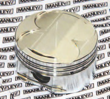 Manley forged pistons, available from Modular Motorsports, are available in a variety of positive and negative dish configurations to suit your performance agenda. This is a positive dish (domed) Manley piston. If you're going to boost or opt for nitrous, consult with your engine builder to determine the safest compression ratio best for your application. Expect to see 9.0:1, 9.5:1, 10.0:1, 10.5:1, 11.0:1, 11.5:1, and higher if needed. Custom configurations are available that fit your budget.
