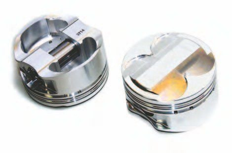 Here are two views of the Manley/Modular Motorsports forged high-compression. These are low-friction pieces; the ring pack contains 1.2-, 1.2-, 3.0-mm rings. Basically, three Manley forged pistons are available for the Coyote in 9.5:1, 10.0:1, and 11.0:1 dishes/compression ratios. You always have the option of ordering a custom piston.