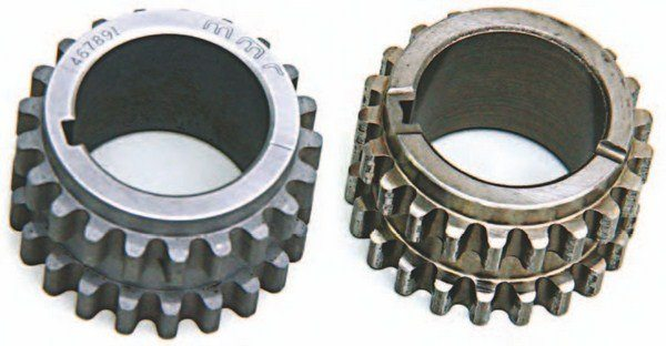 The timing chain drive gear on the right is a stock drive gear; on the left is Modular Motorsports' heavy-duty high-performance sprocket. Opt for the high-performance sprocket if you're going above 600 to 800 hp.