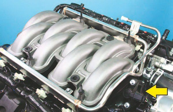 The Coyote's induction system is easy to understand. From 2011 to 2014 you have this simple long-runner, single-plane plastic intake manifold and an 80-mm throttle body. Function is very simple with little more than the throttle body, non-return fuel system, and the evaporative emissions canister purge control valve (arrow).