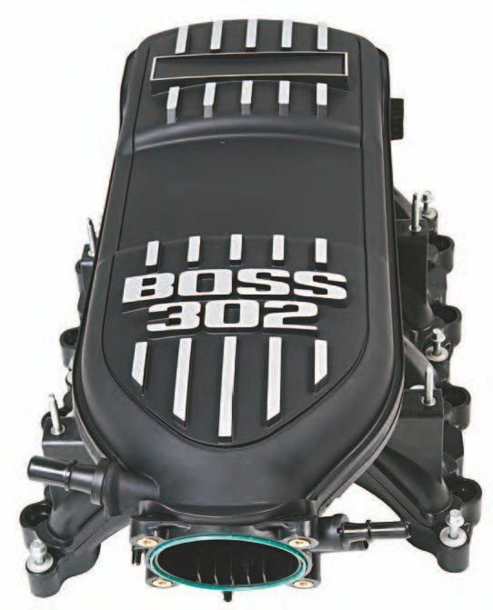The Ford Performance Racing Parts BOSS 302 manifold, M-9424-M50B, is a simple swap for any 2011–2014 Coyote engine. It is your first step toward real power from a stock or Aluminator crate Coyote from Ford Performance Racing Parts. See the install of a Ford Performance Racing Parts Coyote stocker in Chapter 12. You need the M-9444-M50B BOSS 302 manifold installation kit to get this guy onto your Coyote. (Photo Courtesy Ford Performance Parts)