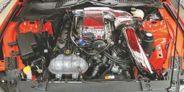 Meet the Kenne Bell Twin-Screw Mammoth supercharger for Ford's 2015–2016 5.0L Ti-VCT Coyote V-8. This is a pristine blower package with all kinds of intercooling; however, it is not for the faint of heart. It is quite an involved system. You must take your time and pay strict attention to instructions . When properly installed and tuned, the Kenne Bell system makes real power. (Photo Courtesy Kenne Bell)