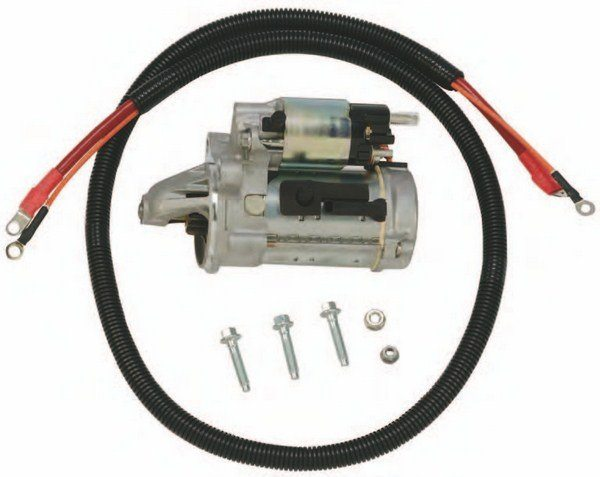 The Coyote's starter is virtually the same as the 4.6L and 5.4L Modular. It remains a three-bolt reduction gear Motorcraft starter with an integral solenoid/ drive. This starter package is easily adapted to vintage Ford Coyote conversions. Keep the original remote solenoid as a relay and route power to the starter and integral solenoid. You then have two solenoids doing the work. Ford Performance Parts makes it easy with this complete M-11000-C50 starter installation kit, which includes starter, hardware, and wiring harness.