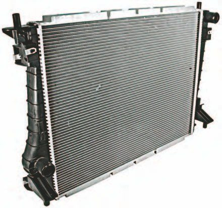 This is the M-8005-MBR high-capacity radiator from Ford Performance Racing Parts. What makes this radiator better than the base Coyote heat exchanger is GT350-style capacity. This radiator is original equipment in the 2015–2016 Shelby GT350. (Photo Courtesy Ford Performance Parts)