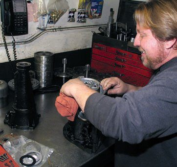 A clean, organized work setting is what you want for your Ford AOD build. Mike Stewart of Mike's Trans-mission maintains a clean area for his transmission builds for committed customers from around the world.