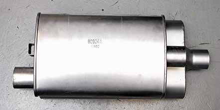 When you're shopping for mufflers, keep overall muffler length in mind. Long mufflers do not clear Mustang and other Ford compact/intermediate floorpan pockets.