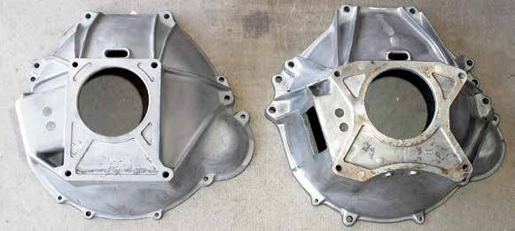 This is a side-by-side comparison of the two small-block Ford V-8 bellhousing bolt patterns. On the left is the smaller five-bolt pattern used from 1962 to 1964. On the right is the larger six-bolt pattern employed to reduce noise, vibration, and harshness by spreading harmonics across a broader contact area to dampen sound and vibration.