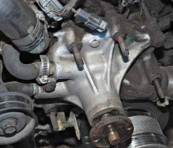 With the serpentine belt drive came this reverse-rotation aluminum water pump on 5.0L and 5.8L engines. If you have a factory serpentine belt drive, you must have a reverse-rotation water pump and compatible timing cover. Although the clockwise and counterclockwise rotation pumps and timing covers look similar, they are not compatible. The pump and timing cover must match.