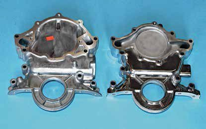 On the right is the redesigned timing cover for the 5.0L High Output engine. It first appeared on the MN-12 1989 Thunderbird and Cougar, then the SN-95 1994–1995 Mustang GT. When compared with the more traditional small-block timing cover on the left, you can see the difference.