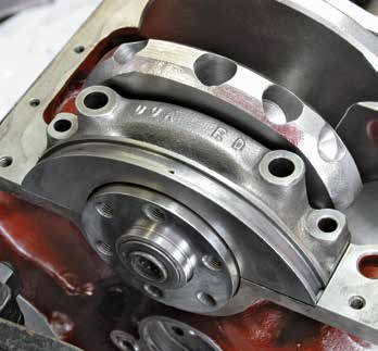 This is the 351C's rear main bearing cap, which is much wider and capable of supporting greater stresses. It is also designed to be more leak resistant.