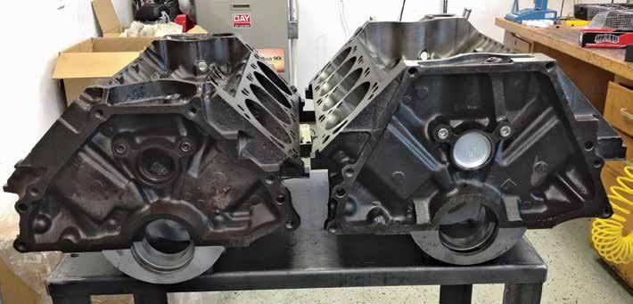 Side by side, the 351C (left) and 400 (right) blocks are easily identified. The 400's taller deck and big-block bellhousing bolt pattern distinguishes it from the 351C. (Photo Courtesy Tim Meyer)