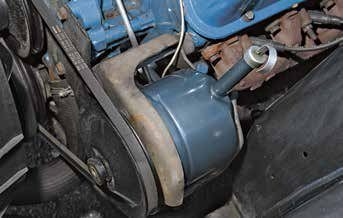 Beginning in 1965, Ford dropped the Eaton pump and used the Ford/Thompson power steering pump. Prior to 1967, the Thompson pump had a large filler neck. Beginning in 1967, the Thompson pump had a skinny filler neck and dipstick tube (shown). The Thompson pump was common on most Fords until early 1978 when it was dropped in favor of a new, light-weight, aluminum Ford pump.