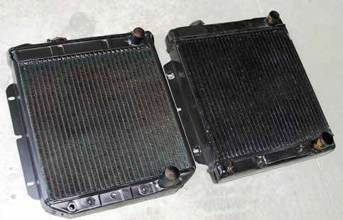 Shown here are two 201⁄4-inch-wide radiators. On the left is an original-equipment radiator with the properly stamped top tank. On the right is an aftermarket brass and copper radiator, approximately 19 inches wide, which just doesn't offer enough cooling capacity. When you order a radiator, be sure you specify the correct dimensions. They are not all the same.