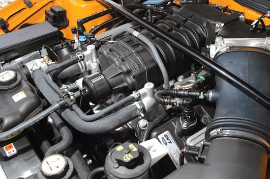 The 2006–present Shelby GT500 has the supercharged 500-hp 5.4L DOHC V-8.