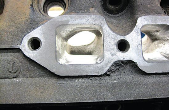 A look through the modified exhaust ports on this ECZ-C cylinder head casting shows that Seppo has achieved the sought-after result: the straightest possible path between valve and port that provides the maximum amount of horsepower from the head.