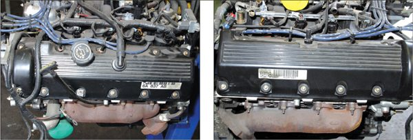 Not all Modular V-8 cam covers are the same. Oil filler caps appear on both sides across nearly two decades of production history. Trucks and SUVs tend to have them on the passenger's side. Passenger cars tend to have them on the driver's side. Romeo engines have an 11-bolt cam cover, while Windsors have a 14-bolt cam cover. In all cases, the PCV valve is on the passenger's side.