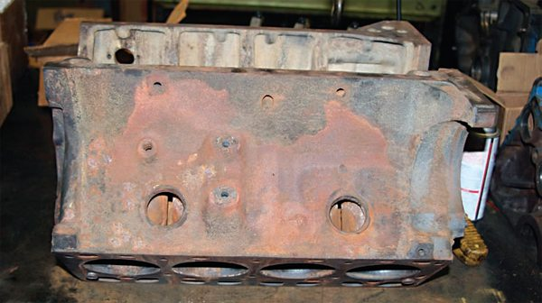 This 1957-vintage 292 block is the raw material for the performance Y-block engine build. I chose the 292 over the 312 because the 292 has the stronger casting of the two for performance applications. Engineering changes to the main bearing saddle areas of the 312 block resulted in it being weaker than that of its predecessor. After being bored oversize and fitted with a 312 crankshaft, my engine displaces 322 ci.