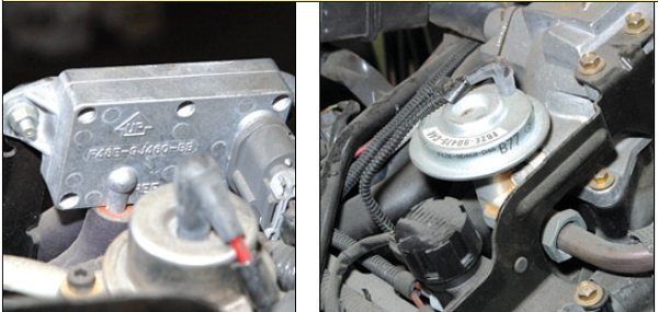 Although this resembles a manifold air pressure (MAP) sensor, it is actually the exhaust gas recirculation (EGR) control module, which controls vacuum to the EGR valve. Replace this module whenever you replace the EGR valve. And in case you think the EGR serves no purpose, remember there are no unimportant parts; it's required for your engine to run smoothly. The EGR valve tends to become contaminated over time and use. Always replace this valve when you rebuild an engine. If it sticks, the result is poor idle quality and performance.