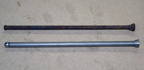 Another upgrade is from the old-style solid pushrod (top) to that of superior tubular design (bottom). Tubular pushrods are hollow, which results in less power-robbing mass; the hollow design makes them inherently stronger. This upgrade is advised for any Y-block engine rebuild, including stock. Tubular Y-block pushrods in OEM length are available from Speed-Pro. For custom lengths, I trust Smith Brothers.
