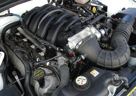 Introduced for 2004 in the new F-150 and later in the all-new 2005 Mustang GT, Ford's three-valve Modular V-8 is much different than its two-valve predecessor. Long intake runners improve torque. This engine is easy to identify at a glance, thanks to three-valve heads and different cam covers made of cast aluminum instead of plastic. A twin-blade throttle body breathes more CFM into these three-valve heads. The driver-side and passenger-side cylinder head castings make this engine different.