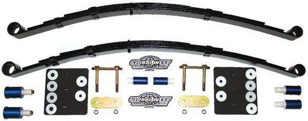 The simple design of leaf springs doesn't offer many possibilities for change but they provide very dramatic results. The springs can be replaced with others having a different spring rate and revised construction, which can alter the vehicle height. These reverse-eye springs lower the car (at the same spring rate). Global West's Del-A-Lum bushings replace the OEM rubber bushings and eliminate unwanted movement, compliance, and friction by keeping the springs properly and consistently located. The spring shackles are also reinforced.